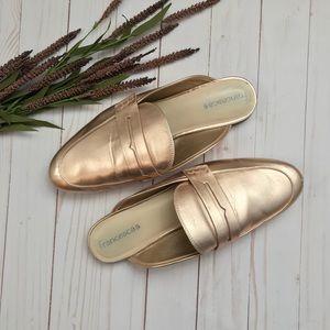 Francesca's Rose Gold Mule Slides Trendy Chic